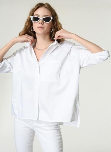 NGSTYLE Kadın Baskılı  Gömlek NGKSS21GM0006 Beyaz